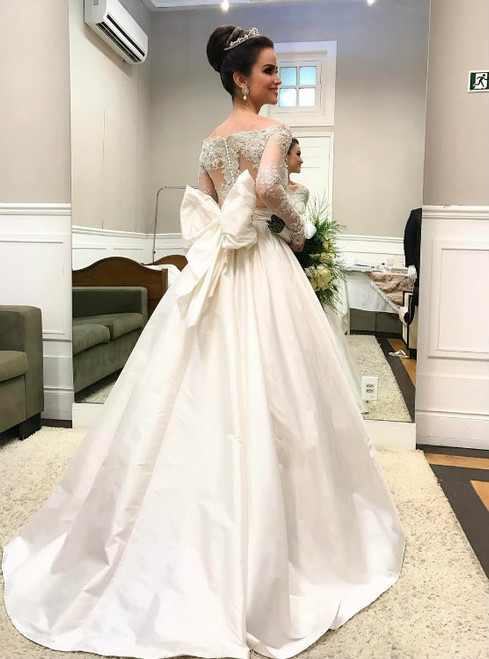 Off-the-Shoulder Long Sleeves Taffeta Ball Gown Wedding Dress with a Bow