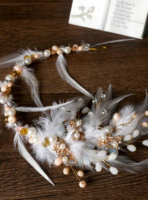 bride headdress white feather Beaded handmade feather hairband