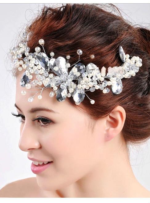 Styling soft crown pearl headdress Handmade crystal beaded tiara bridal