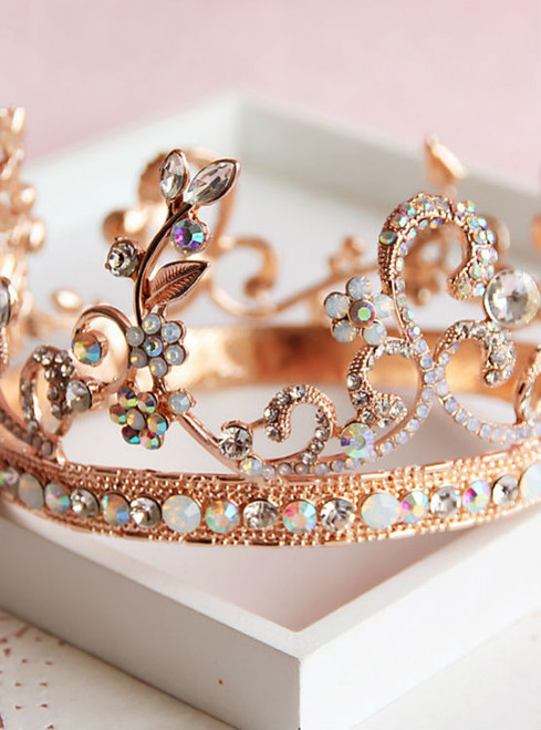 Wedding hair jewelry hair Champagne alloy rhinestone bridal tiara