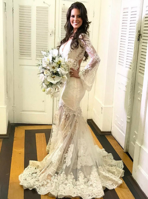 Illusion Lace Mermaid Long Sleeves Wedding Dress with Back Keyhole