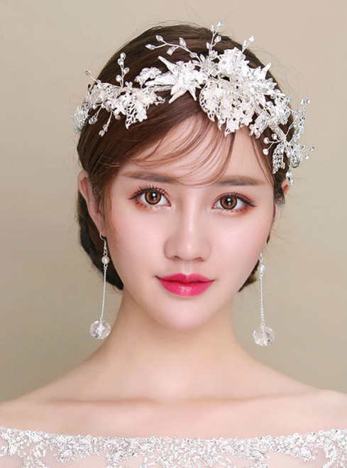 Korea leaves white flowers wedding hair simple silver alloy hoop tiara earrings