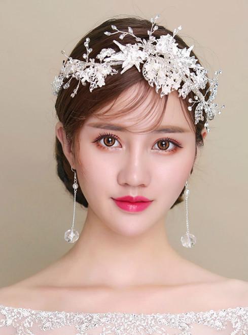 Korea leaves white flowers wedding hair simple silver alloy hoop tiara earrings