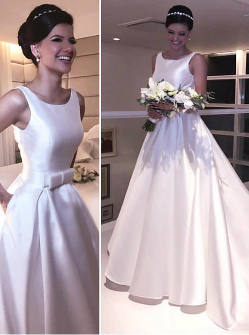 Puffy Satin Scoop-Neck Long Backless Wedding Dress with Pockets and Front Bow