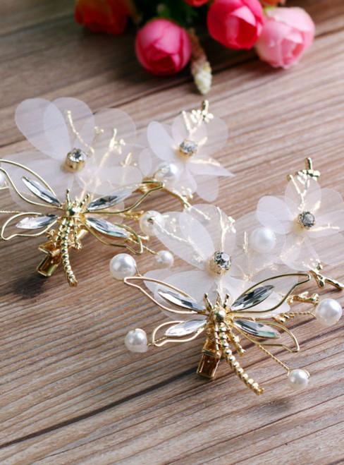 Dragonfly transparent flower hairgrip hair accessories high-end handmade