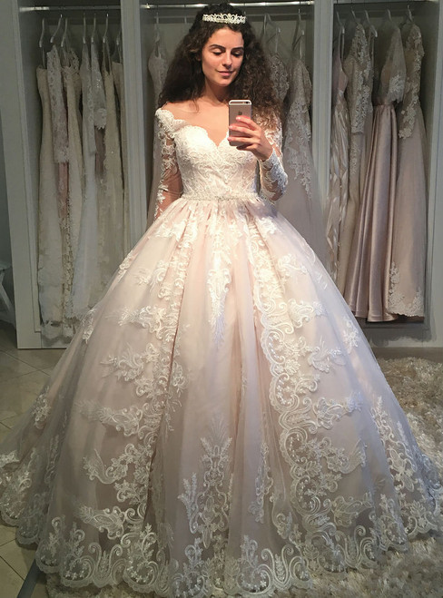 5c6d955066c Fairy Tale Romantic Lace Long Sleeves Wedding Ball Gown Dresses