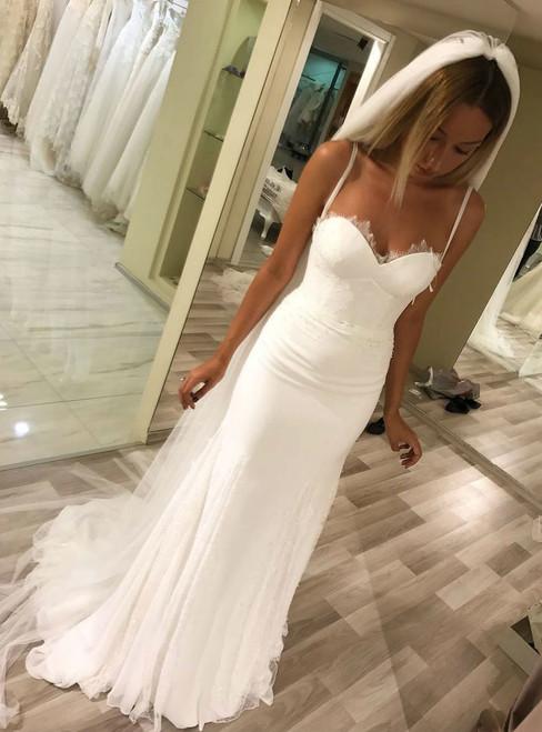2018 Elegant Lace Appliques Sweetheart Chiffon Mermaid Wedding Dresses