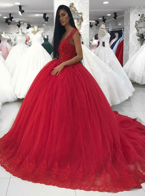 Ball Gowns Wedding Dresses in Red Tulle Elegant Lace Corset V Neck