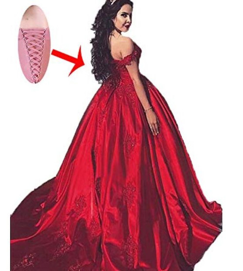 Wedding Gown Bustier: Red Satin Bridal Engagement Ball Gown Wedding Dresses Lace