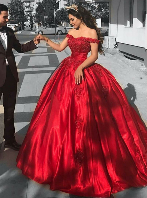 Red Satin Bridal Engagement Ball Gown Wedding Dresses Lace Corset Off  Shoulder