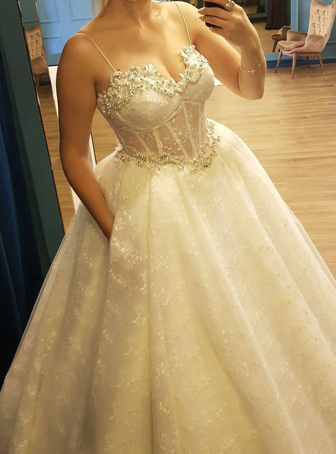 Ball Gown Lace Wedding Dress with Pockets corset Beaded Sweetheart
