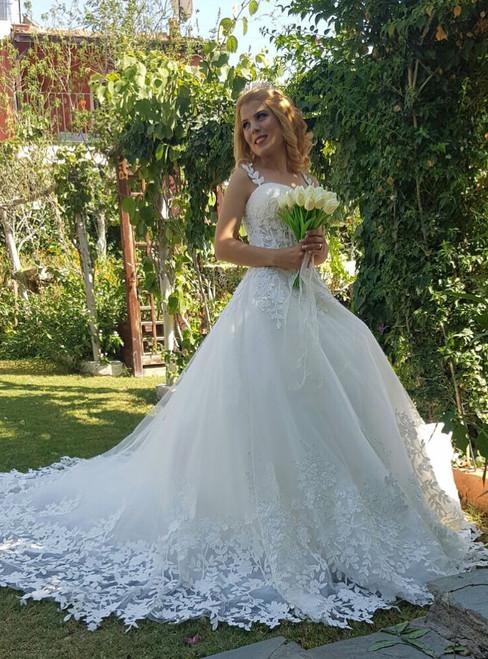 Wedding Dress Illusion Bodice 2018 Romantic Lace Straps Sweetheart Tulle