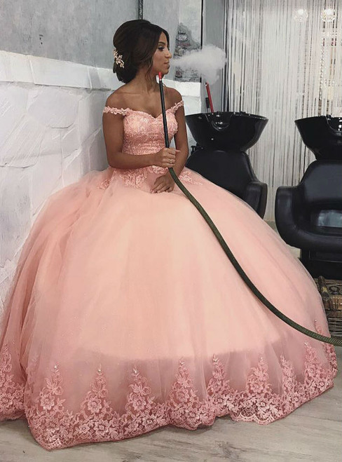 Pink Off Shoulder Lace Corset Tulle Engagement Ball Gown Prom Dresses