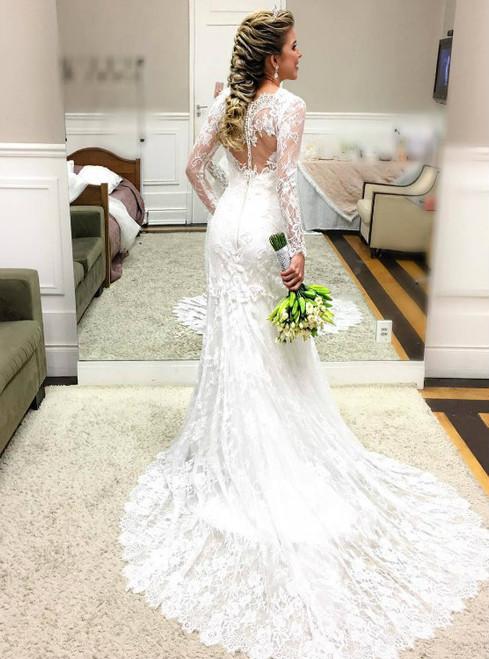 Romantic Lace Mermaid Wedding Dress with Sheer Long Sleeves