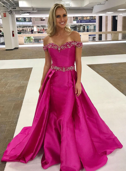 Long Prom Dresses with Over Skirt Fuchsia Satin Beaded Off Shoulder