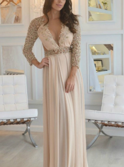 Cheap prom dresses Long Sleeve Beading Prom Dress