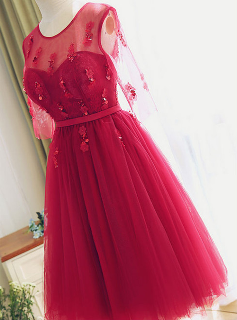 Red Lace Bridesmaid Dress Half Sleeves Lace Prom Dress Party Dress Tea length