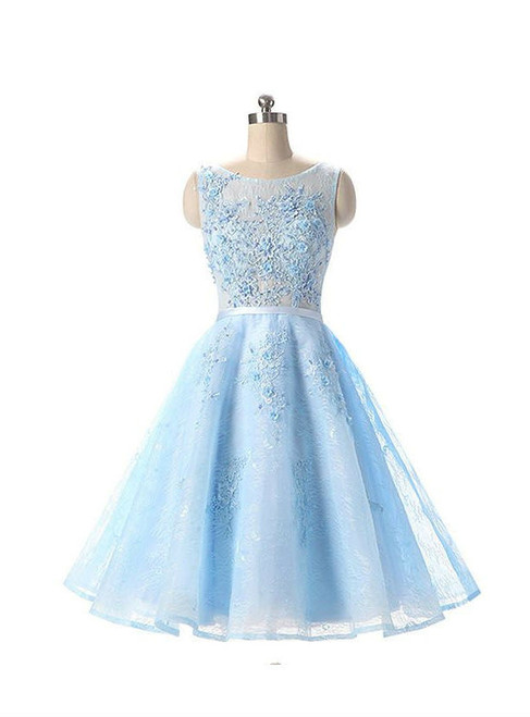 Cheap Light Blue Appliqued Sleeveless Lace Homecoming Dresses