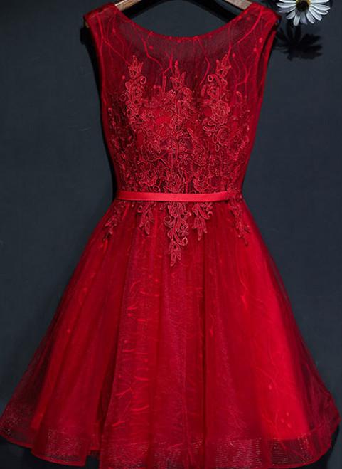 82c7eb0318c A-line Scoop Burgundy Short Prom Dress Chic Homecoming Dress