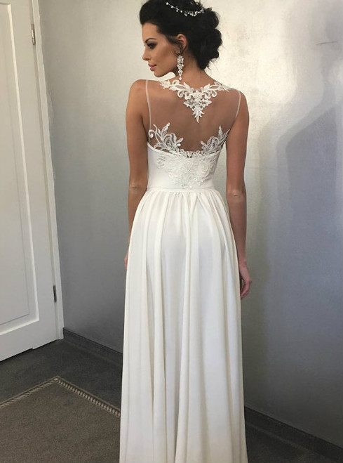 Long Chiffon Beach Wedding Dress with Side Slit and Illusion Back