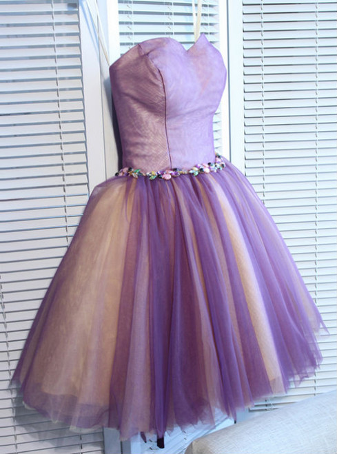 A-line Sweetheart Short Mini Tulle Short Prom Dress short homecoming dresses
