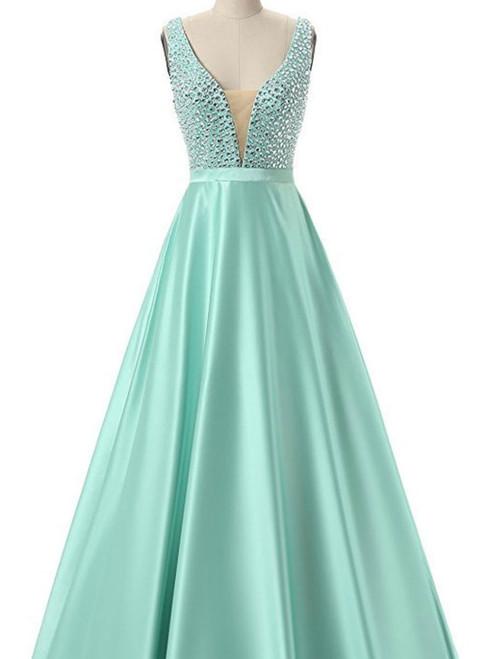 Fairy Tale Green Prom Dresses Satin Prom Dresses Sexy Prom Dresses