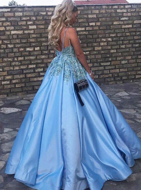 Formal Dresses Crystals Beaded Lace Bodice Puffy Satin V Neck Prom Ball Gowns