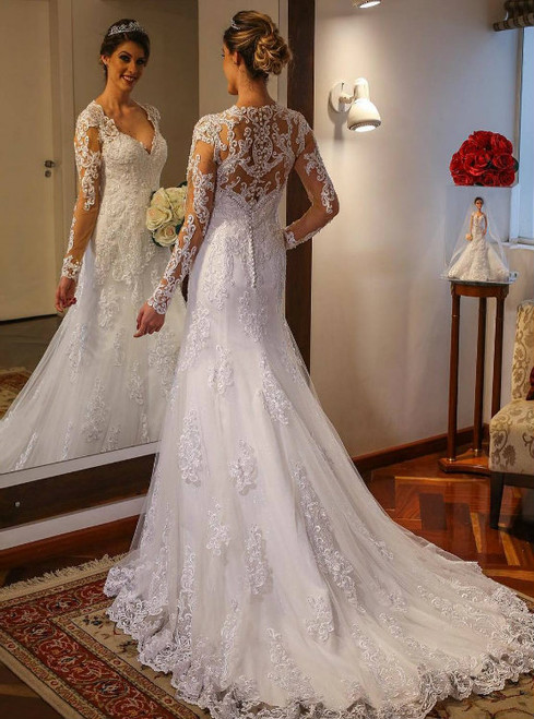 Long Sleeves Trumpet Lace Wedding Dress with Deep V Neck