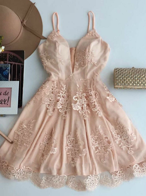 Short Champagne Tulle Homecoming Dress A-Line Spaghetti Straps Homecoming Dress