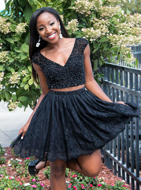 Short Lace Homecoming Dress with Beads Cute Black Two Piece