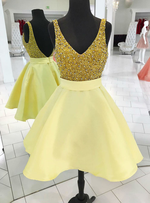 High quality Sparkly Sequins Short Gold Homecoming Dress Party Dress