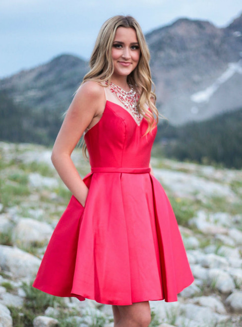 Fashion Cute Short Red Homecoming Dress with Pockets