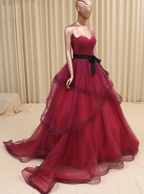 Sweetheart Organza Bridal Dress Burgundy Wedding Dress,Colorful Wedding Gown