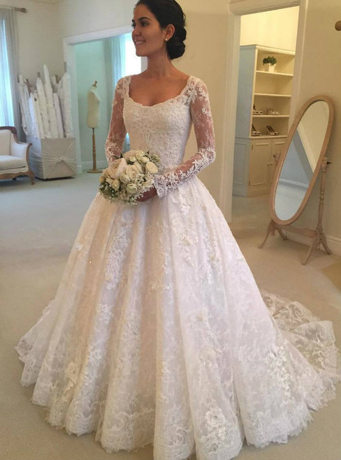 Retro Scoop Ball Gown Lace Wedding Dress with Sheer Long Sleeves