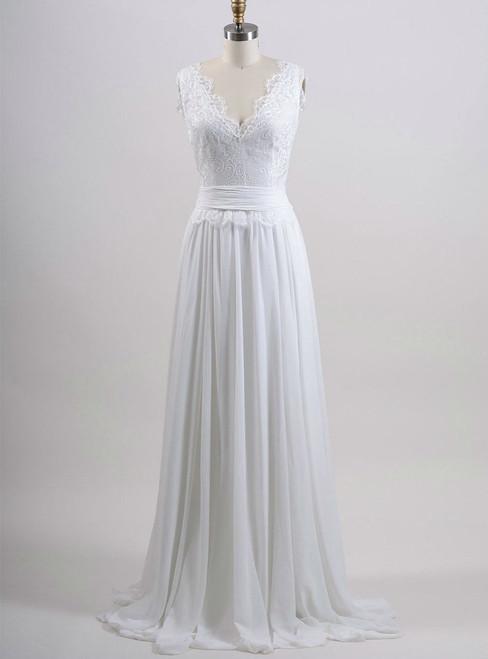 Chiffon Wedding Gown A line Summer Wedding Dress Lace Bridal Dress