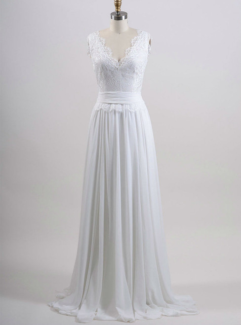 Chiffon Wedding Gown A line Summer Wedding Dress Lace Bridal Dress
