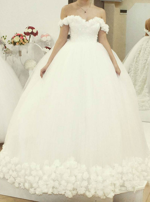 Popular Tulle Flowers Wedding Dresses Off Shoulder Bridal Ball Gowns White