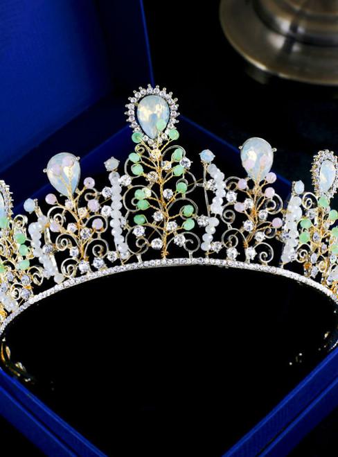 Baroque bride headdress ornaments fashion color crystal beaded crown