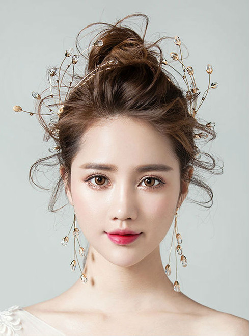 South Korea Party accessories Simple hair crystal droplets alloy shaped earrings