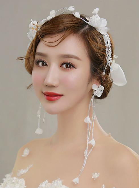 Earrings suite wedding dress white silk yarn flower hairpin