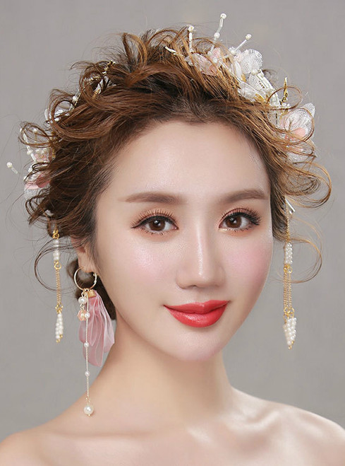 wedding hair accessories silk Flower Beaded tassels hairband
