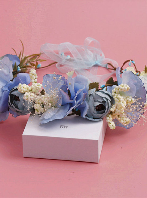bride wedding wreath headdress flower hair accessories sweet blue