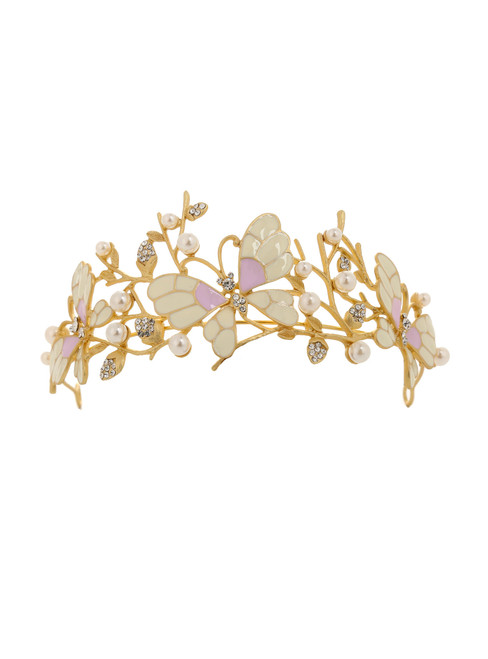 European Princess Crown Pearl Butterfly Hair Ornaments Jewelry