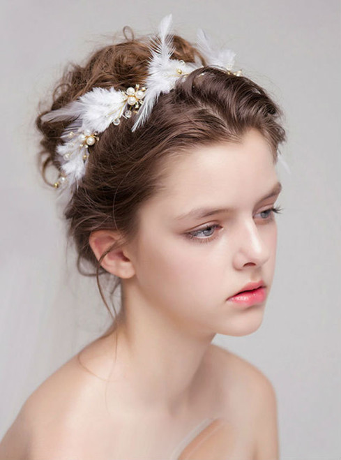 bride wedding accessories handmade jewelry pearl headdress feathers