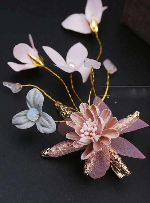 Colorful broken flower sea stars hairpin clip on bride jewelry