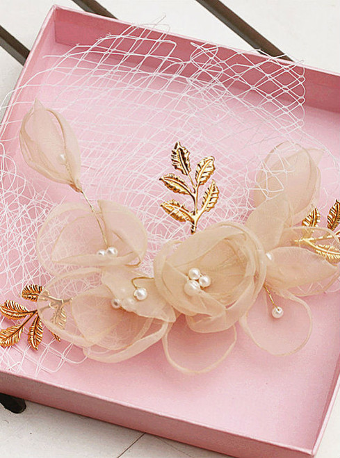 bride wedding styling hair ornaments handmade lace flowers butterfly