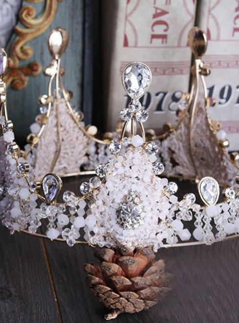 QUEEN CROWN bride headdress wedding accessories Continental retro handmade crystal