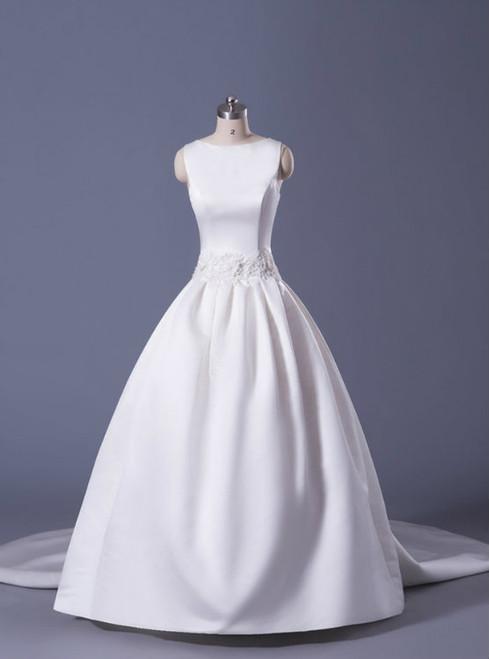 Soft Satin Ball Gown Wedding Dress With Detachable Train Floor Length