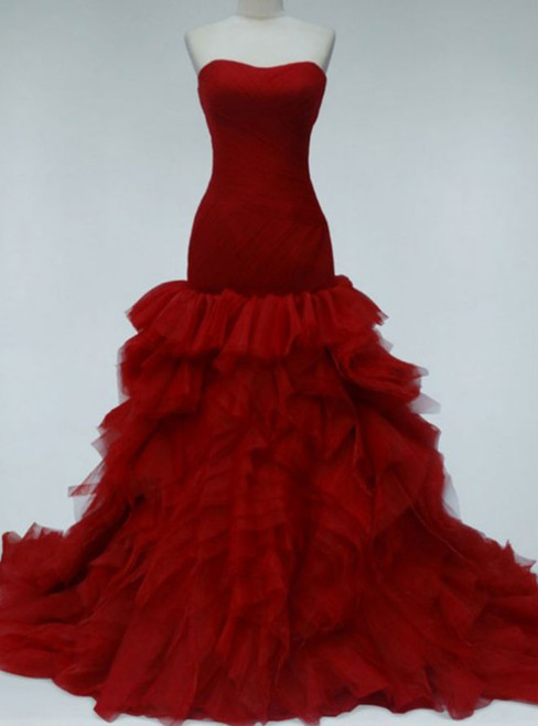 Burgundy Prom Dresses Strapless Prom Dresses