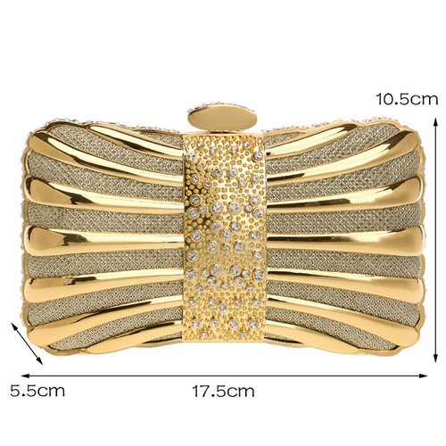 Women Clutch Bags Metal Diamonds Chain Shoulder Evening Bags